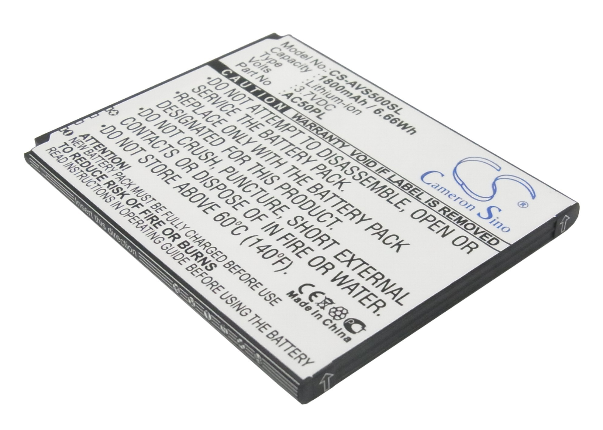 Аккумулятор для Archos 50 Platinum, 50 Helium, 50b Oxygen 1800mah CS CameronSino