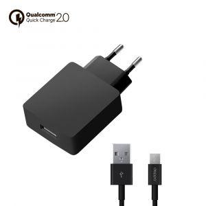 Зарядка сетевая USB QuickCharge 2.0 черная