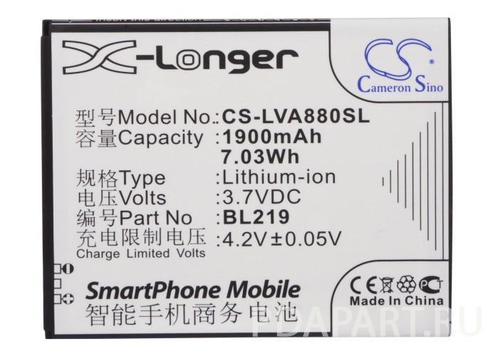 Аккумулятор для Lenovo A880 1900mah CS CameronSino