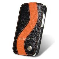 Чехол HTC One SV - Melkco Jacka Type SE черный с оранжевым