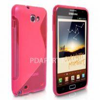 чехол Защитный Samsung Galaxy Note i9220 Wave Plastic розовый